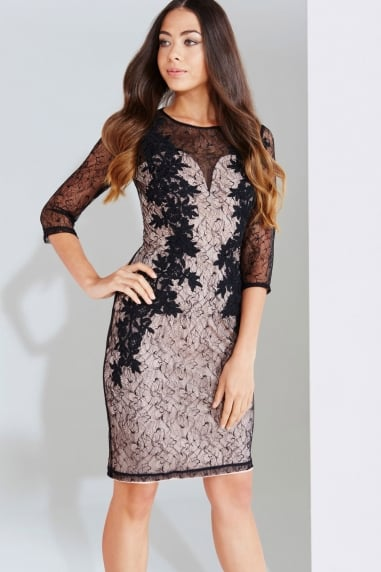 Black And Beige Lace Applique Bodycon Dress