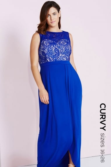 Cobalt Lace Maxi Dress