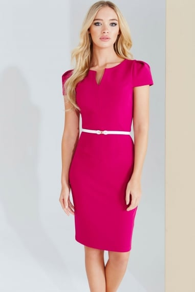 Magenta Notch Neck Dress With Belt