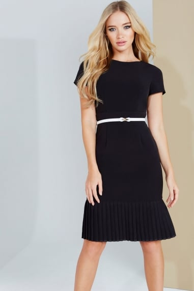 Black Pleat Hem Dress With Belt