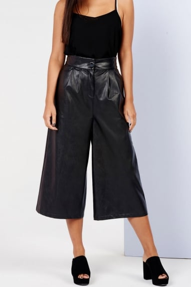 Girls on Film Black Faux Leather Culottes