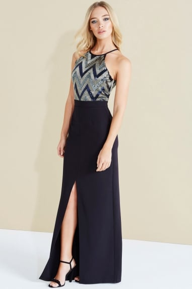 Paper Dolls Blue Zig Zag Shimmer Sequin Maxi Dress