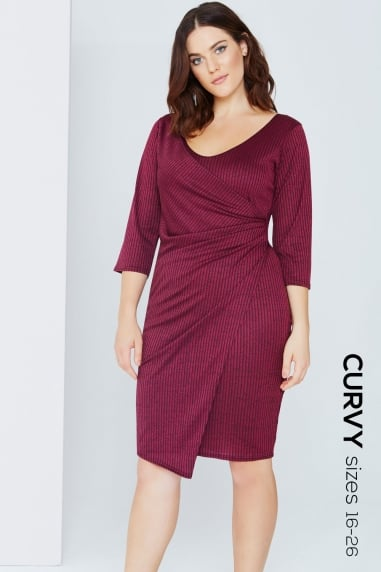 Plum Wrap Front Bodycon Dress