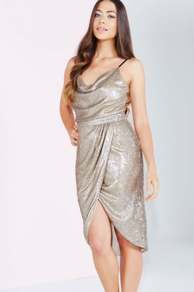 Gold Sequin Wrap Front Skirt