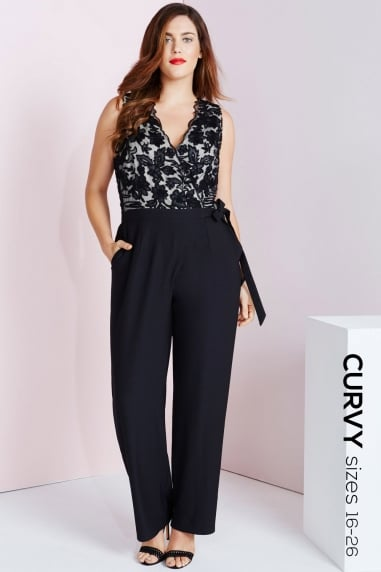 Black Embroidered Wrap Front Jumpsuit