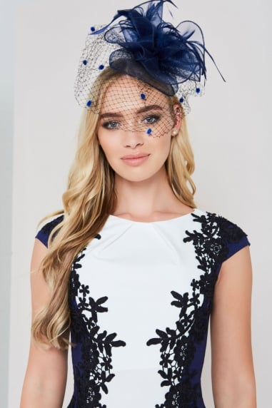 Navy Feather Fascinator With Spots