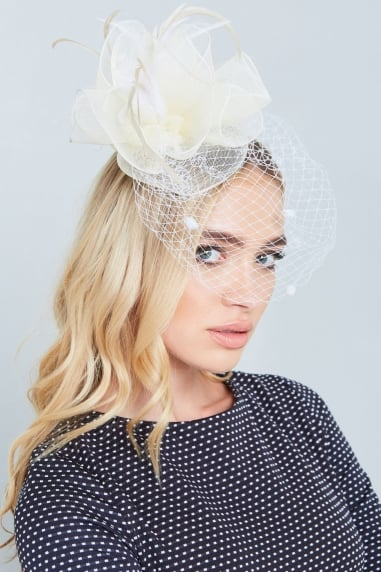 Cream Feather Fascinator With Spots
