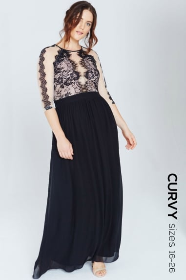 Monochrome Lace Trim Maxi Dress