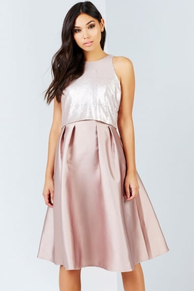 Mink Sequin Top Midi Dress