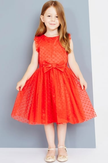 Red Spot Mesh Dress With Bow