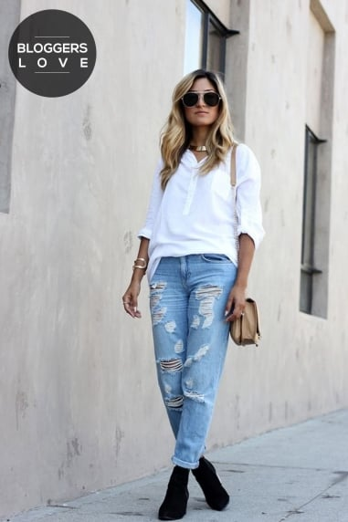 White Oversized Collarless Shirt