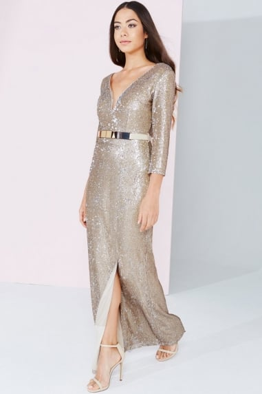 Gold Sequin Maxi Dress With Belt