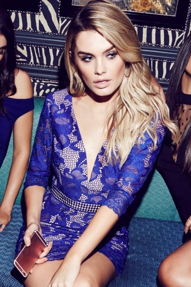 Cobalt Lace V-Neck Mini Dress