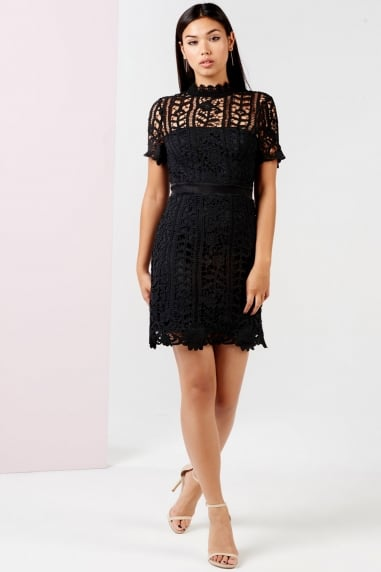 Black Crochet Mini Dress