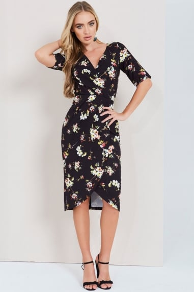 Paper Dolls Dark Blossom Print Wrap Dress