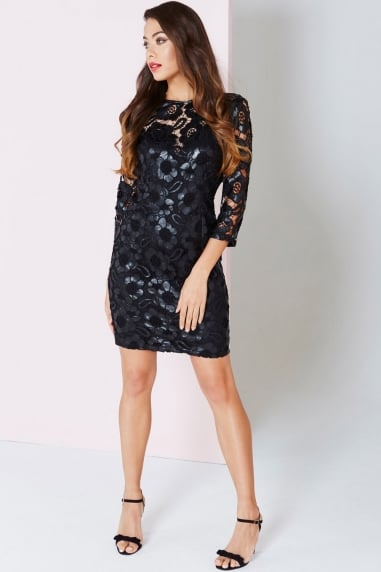 Black Floral Cut Out Wiggle Dress