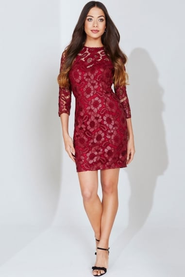 Burgundy Floral Cut Out Wiggle Dress