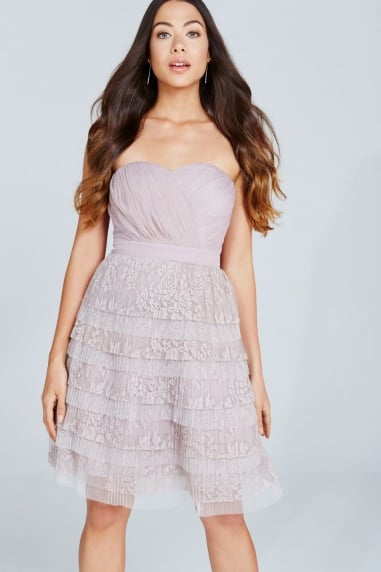 Mink Lace Bandeau Mini Prom Dress