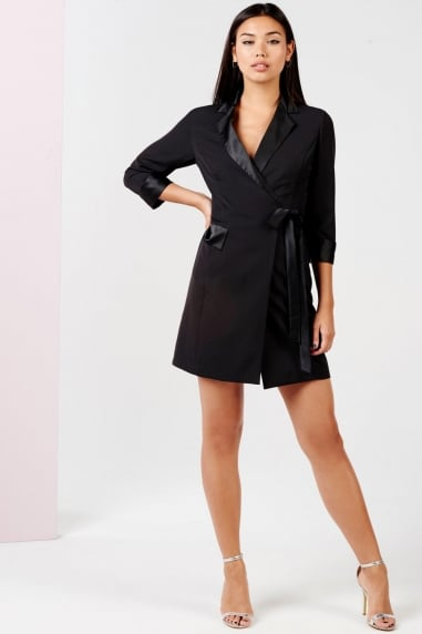 Black Tuxedo Mini Dress With Tie Waist