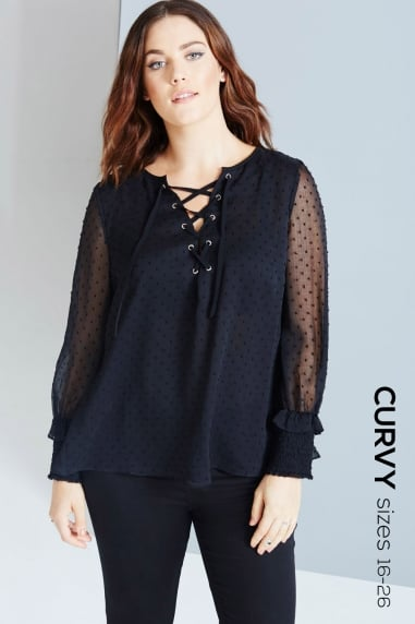 Black Polka Dot Lace-Up Blouse