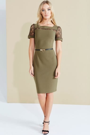 Khaki Crochet Panel Dress With Belt