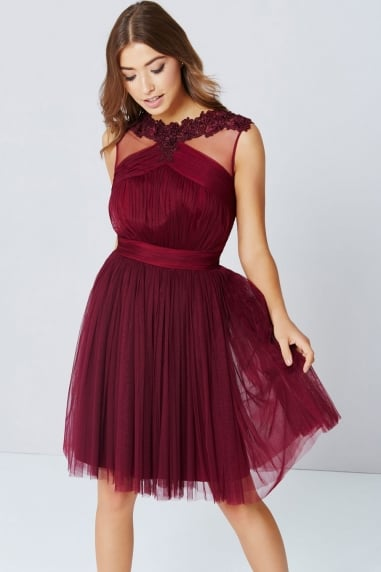 Maroon Lace And Mesh Prom Dress