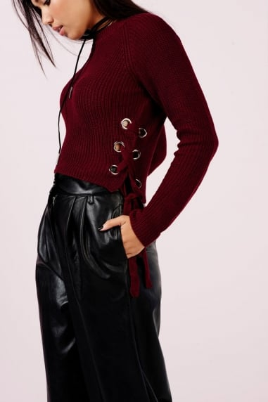 Wine Ribbed Jumper With Tie Sides