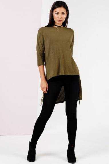 Khaki Step Hem Jumper With Ties