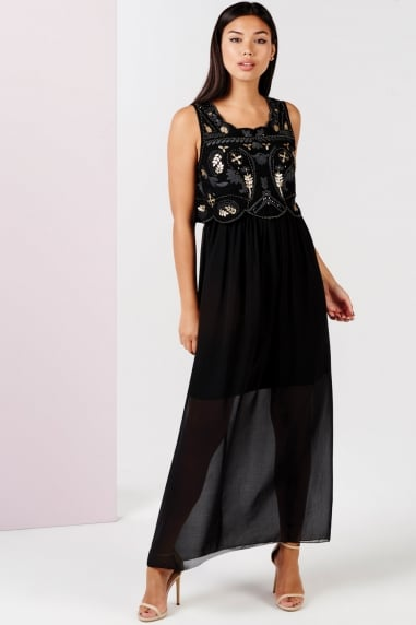 Black Embellished 2 In 1 Maxi Dress