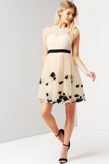 Beige Petal Applique Mini Dress
