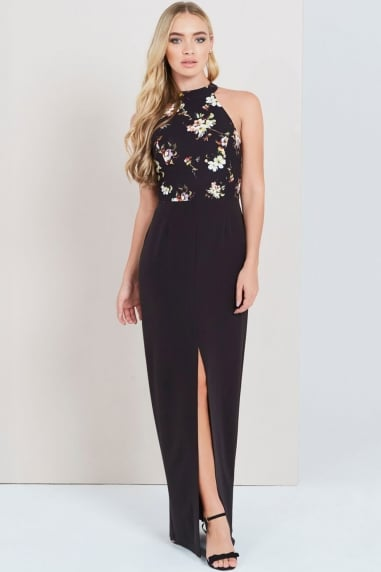 Dark Blossom Print 2 In 1 Maxi Dress