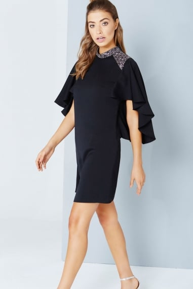 Black Cape Sleeve Dress With Embellishment