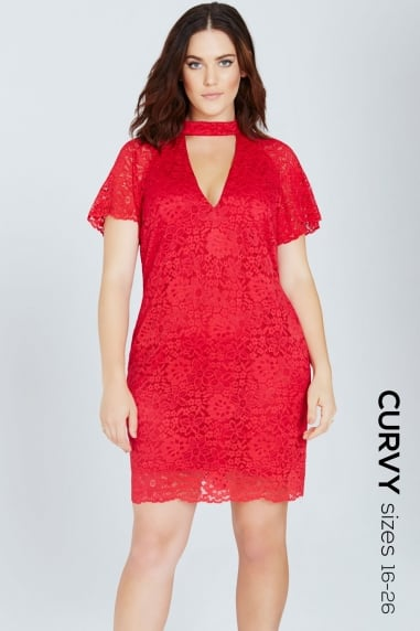 Red Lace Shift Dress With Keyhole