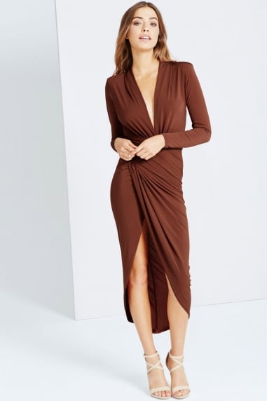 Rust Thigh High Split Maxi Dress