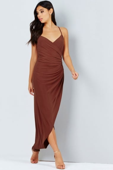 Rust Gathered Waist Maxi Dress