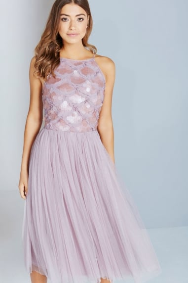 Mink Sequin Bust Midi Dress