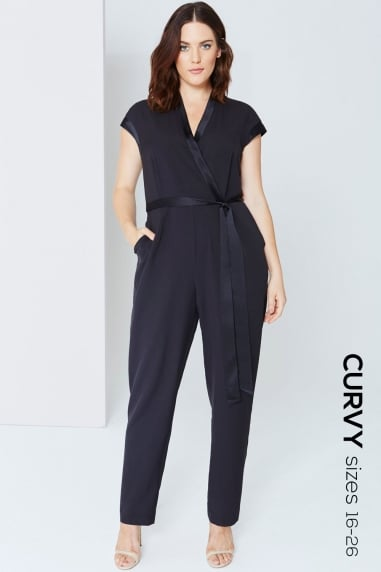 Black Wrap Front Jumpsuit With Tie
