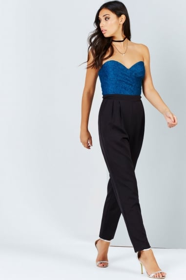 Black And Teal Lace Jumpsuit
