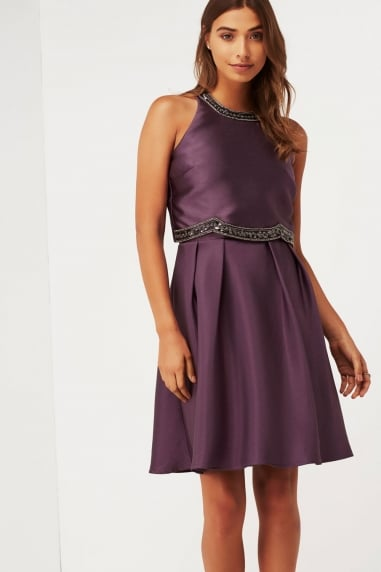 Purple 2 In 1 Midi Dress With Embellishment