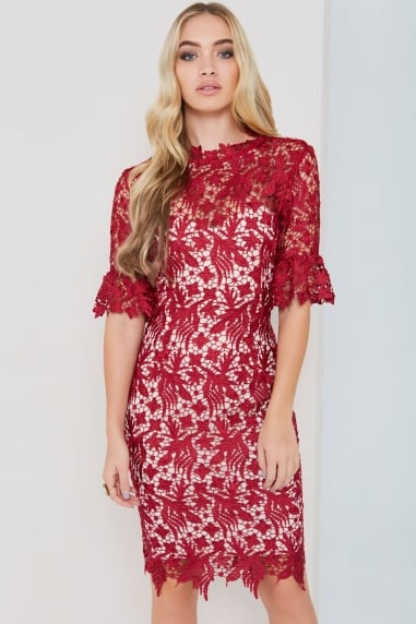 Berry Lace Dress With Fluted Sleeves