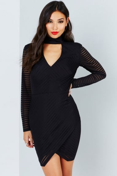 Black Burnout Stripe Dress With Keyhole