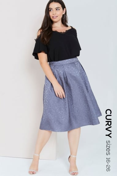 Grey Jacquard Full Midi Skirt