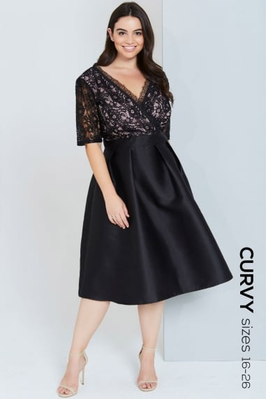 Black Lace Dress With Full Skirt