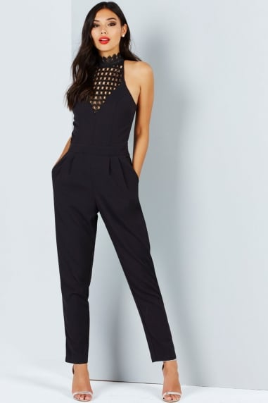 Black High Neck Crochet Jumpsuit