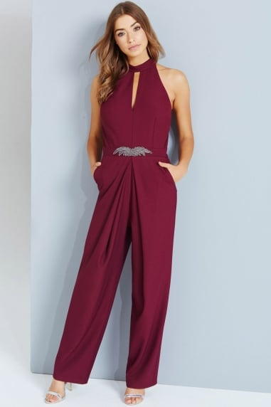 Maroon Embellished Jumpsuit With Keyhole