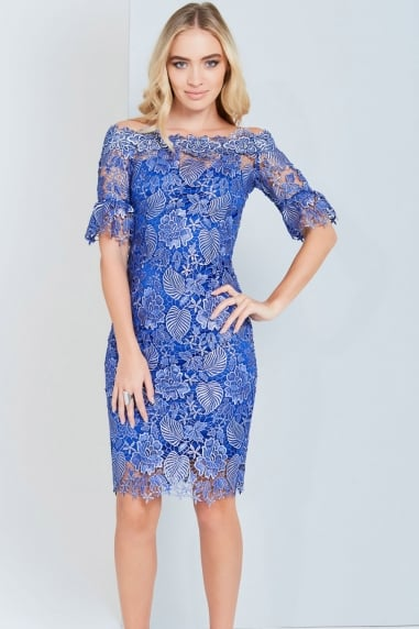 Metallic Blue Crochet Lace Dress