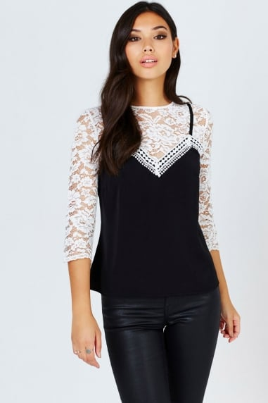 Cream And Black 2 In 1 Lace Top