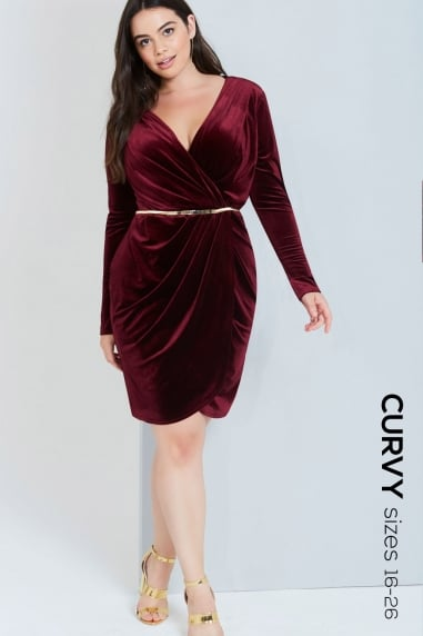 Burgundy Velvet Wrap Dress With Belt