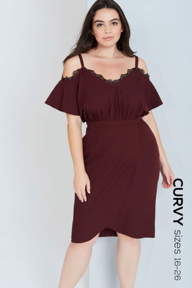 Burgundy Off The Shoulder Dress With Lace