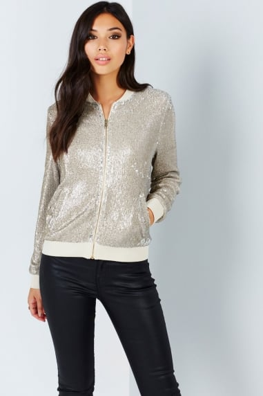 Gold Sequin Bomber Jacket
